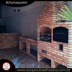 Churrasqueira 0,95 , forno acoplado tijolo palha, gabinete para pia 2,00m