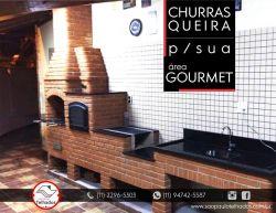 Churrasqueira 0,80 x 0,60 com forno e fogão a lenha e gabinete para pia tijolo vermelho