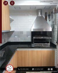 Braseiro cooktop, Coifa pirâmide inox, Grill elétrico inox