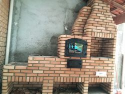 Churrasqueira 0,80 x 0,60 com forno e fogão a lenha acoplado tijolo palha